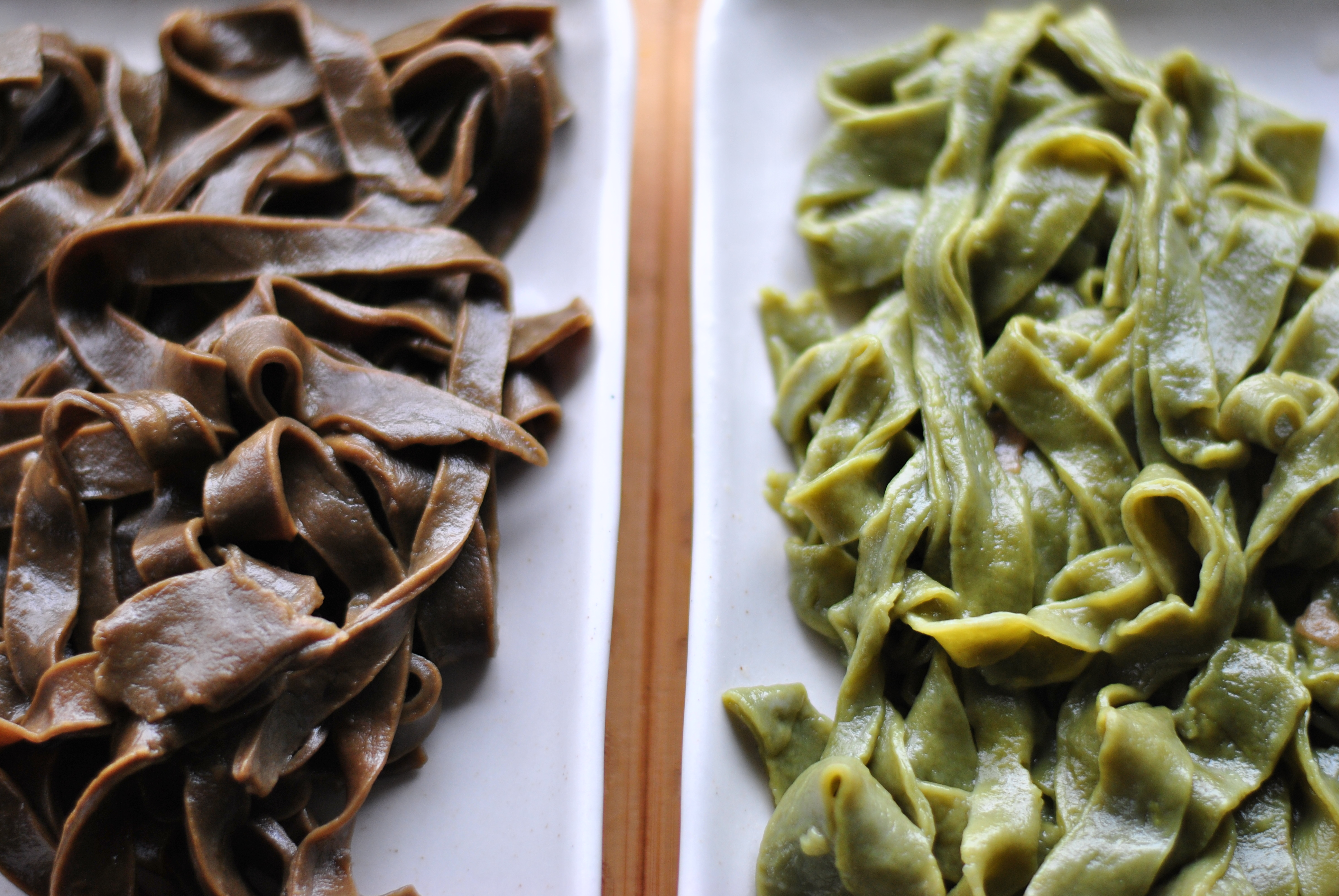Why not split the dough and make Hojicha and Genmaicha Pasta for a unique colour display?