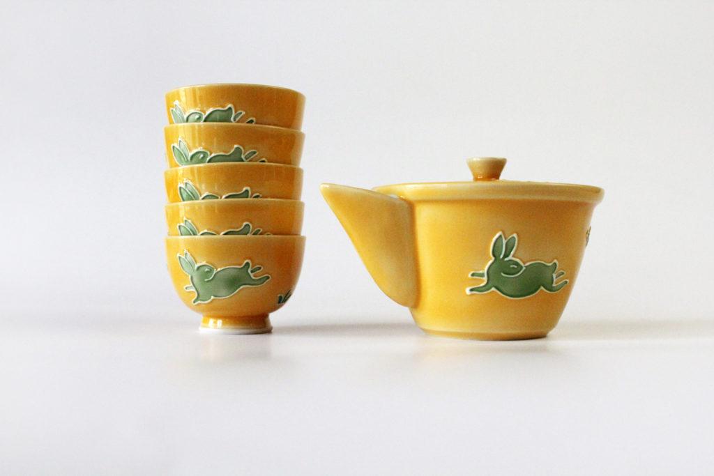 Kochi Japanese tea set yellow